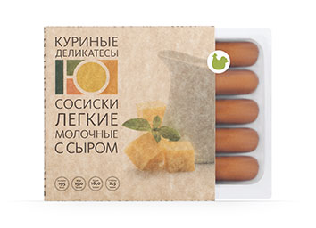 "Sausages ""Light milk with cheese"" from poultry meat"