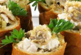 Chicken salad in bread cups