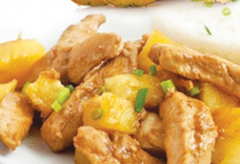 Chicken pieces with pineapple